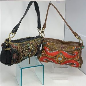 Lot of 2 Mary Frances Leather Beaded Shoulder Bags